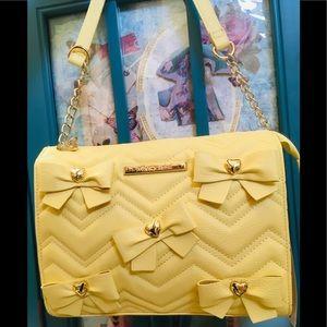 Betsey Johnson Yellow Crossbody Belle Bows Bag